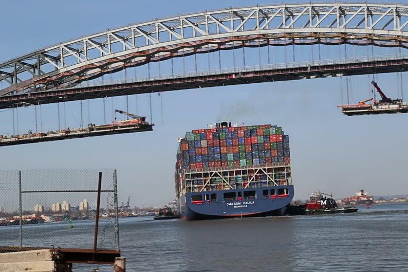 Bayonne Bridge ship-coming through opening in lower roadway